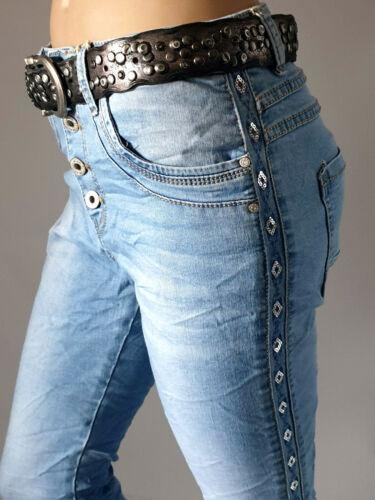 JEWELLY Jeans Baggy Boyfriend Pailletten Eyecatcher Seitenstreifen  Gr.34-42