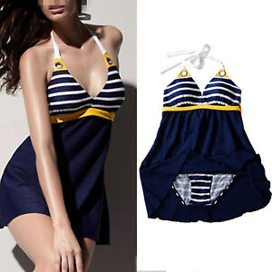 Plus-size-Women-Navy-blue-Padded-Sailor-Stripe-one-piece-Halter-Sports-swimwear