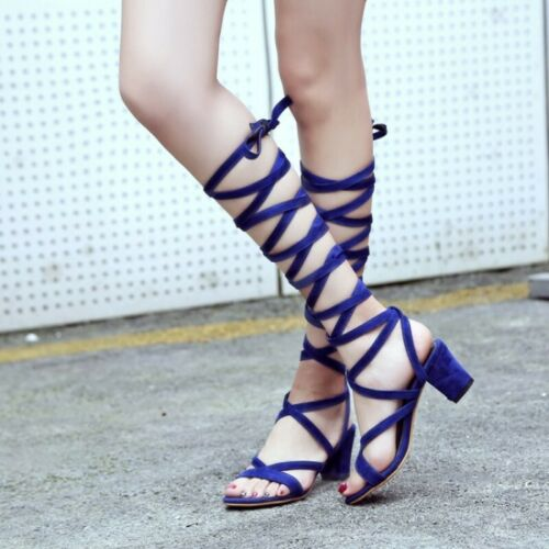 Women Gladiator Sandals Block Heels Hollow out Round Toe Lace up Casual Shoes
