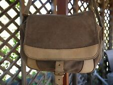 LL Bean Brown Khaki Canvas And Leather Cross Body Shoulder Bag VTG