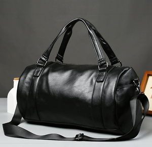 US-Men-039-s-Large-Travel-Duffle-Gym-PU-Leather-Roll-Luggage-Shoulder-Handbag-Bag