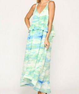 New-Gigio-By-Umgee-Maxi-Dress-S-Small-Tie-Dye-Pockets-Green-Blue-Ruffle-Boho