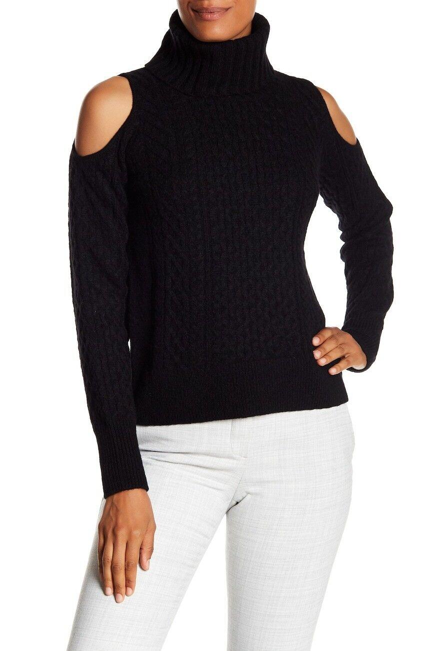 Una nueva teoría Frío Hombro Suéter de lana mezcla  de cuello alto en Negro-Talla P  S585  genuina alta calidad