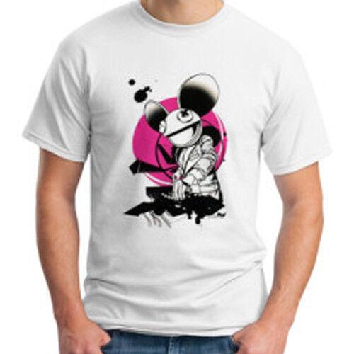 DJ Deadmau5 Trance House Musik Logo Tee Weiß Baumwolle Herren T-Shirt Größe S bis 3XL