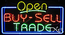 "NEW ""OPEN BUY-SELL TRADE"" 37x20 REAL NEON SIGN W/CUSTOM OPTIONS 15474"