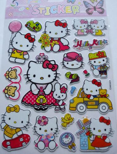 New Vinyl Tough 3D Hello Kitty Wall Children Craft Stickers Size:20 x 30cm PA