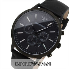 Emporio Armani full black AR2461 Mens Chronograph leather strap watch