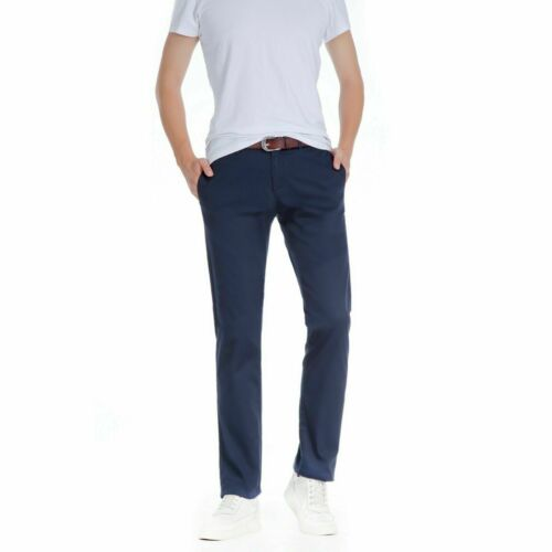 Mens Skinny Fit Designer Smart Cotton Chino Casual Boys Slim Fit Jeans Trousers