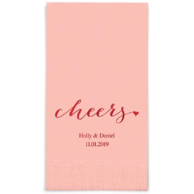 80 Cheers Printed Rectangular Fold Wedding Dinner Napkins