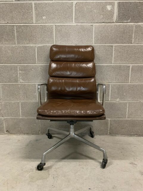 Eames Soft Pad Executive Chair High Back Brown Leather Herman Miller Mid  Century