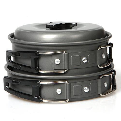 Portable Camping Cooking Cookware Set Aluminium Pots Pans Backpacking Black