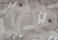 Stoff Dekostoff Schrift Grafik 100% Leinen france Shabby Vintage grau 50 x140cm