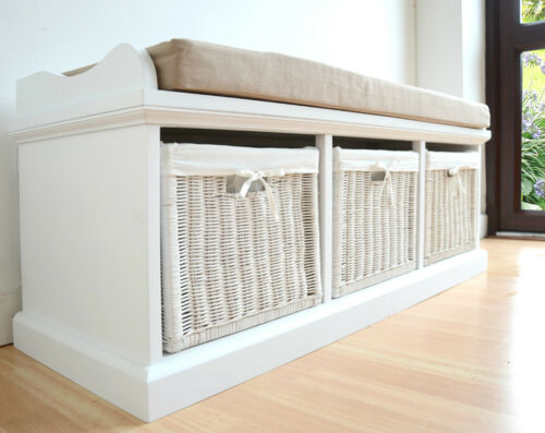 window seat furniture. Window Seat Storage Bench White With Cushion 3 Baskets Room Hall Kitchen Bedroom Furniture H