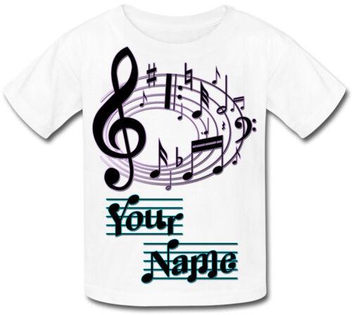 Musique notes musicales personnalisé sublimation t-shirt enfants-Cadeau Enfant /& nommé