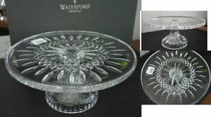 Image is loading Waterford-Crystal-LISMORE-Footed-Pedestal-CAKE-PLATE-Stand- & Waterford Crystal LISMORE Footed Pedestal CAKE PLATE Stand - NEW ...