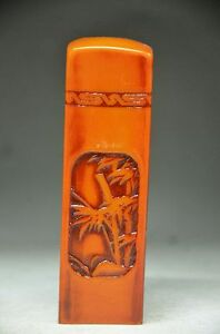 COLLECTIBLE-UNIQUE-CHINESE-SHOUSHAN-STONE-HAND-CARVED-BAMBOO-SEAL-FD2