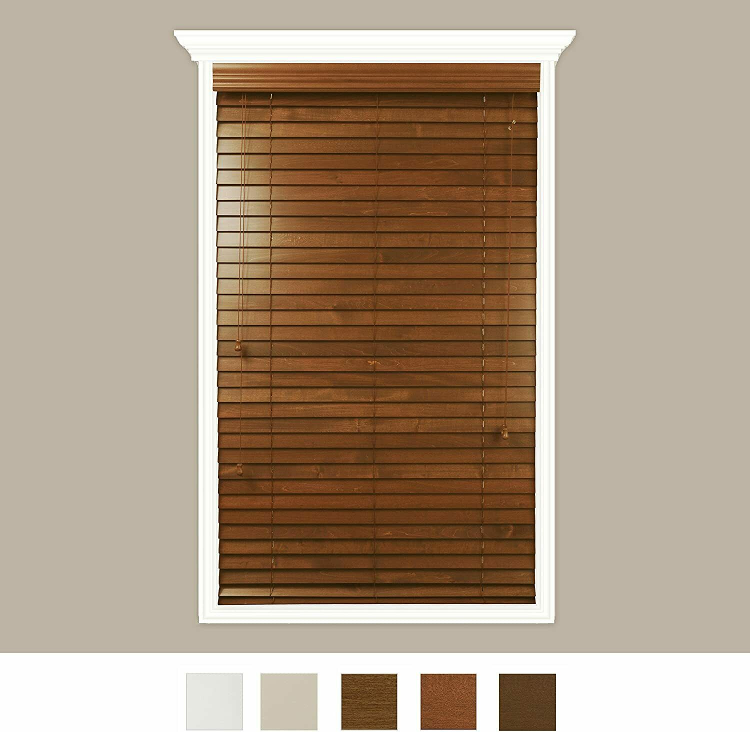Luxr Blinds Custom Made Real Wood Horizontal Window Blinds 36 X 72 2 For Sale