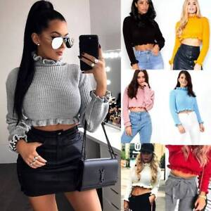 Ladies-Womens-Cropped-Knitted-Jumper-Ruffle-Frill-Fashion-Hem-Long-Sleeve-Top-UK