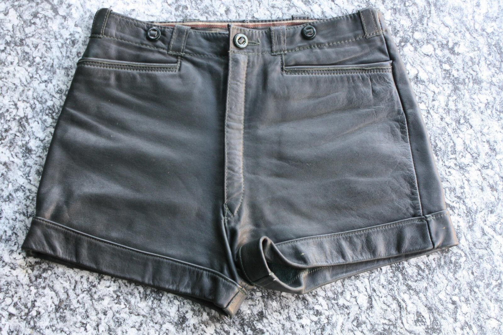 Schöne kurze dunkelgrüne Lederhose, Shorts - Damen 36 38 | Hohe Qualität Und Geringen Overhead  | Spaß  | Elegant