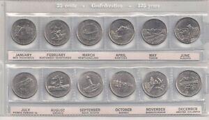 Canada-Lot-of-Twelve-Quarters-1992-Confederation-125-Years-12-Provinces