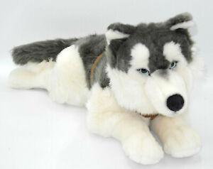 Uni-Toys-Neuware-grosser-liegender-Husky-ca-60cm-lang