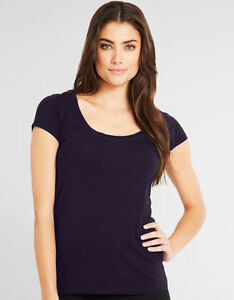LADIES-Scoop-Neck-Short-Sleeve-T-SHIRT-Purple-95-COTTON-FIGLEAVES-UK-8-NEW