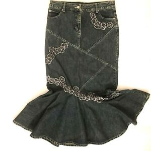 first look 100% top quality sale retailer Details about Vtg 90s Denim Skirt 8 Women Fit and Flare Long Blue