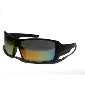 a956875f1a8 Men Sunglasses Gold Mirrored Lens Sport Wrap Style Black Color Frame ...