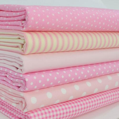 6 fat trimestre bundle rose bébé basics taches rayures plains 100/% tissu de coton