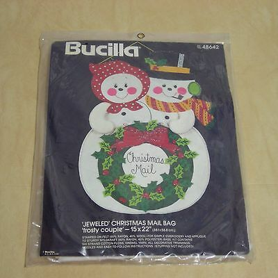 New Vintage Jeweled Christmas Mail Bag Frosty Couple Bucilla  Kit Snowman Felt