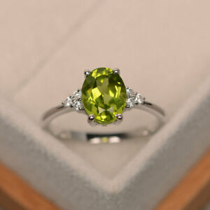 2-15-Ct-Peridot-14K-White-Gold-Natural-Diamond-Anniversary-Ring-Oval-Size-6-7-8