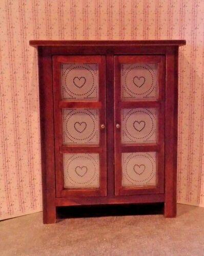 Dollhouse Miniature Pie Safe Cabinet Walnut Color Wood Pierced Heart Design 1:12