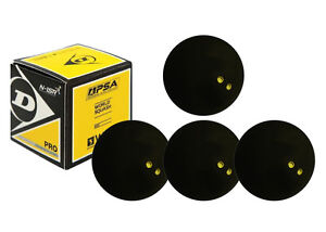 4 x Dunlop Pro Squash Balls Double Dot Yellow - WSF & WSA & PSA Official Ball