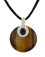 Sigal Sterling Silver Smoky Topaz Tiger Eye Disc Pendant Silk Necklace $249 36mm