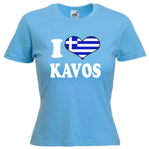 I Love Heart Kavos Ladies Lady Fit T Shirt 13 Colours Size 6-16
