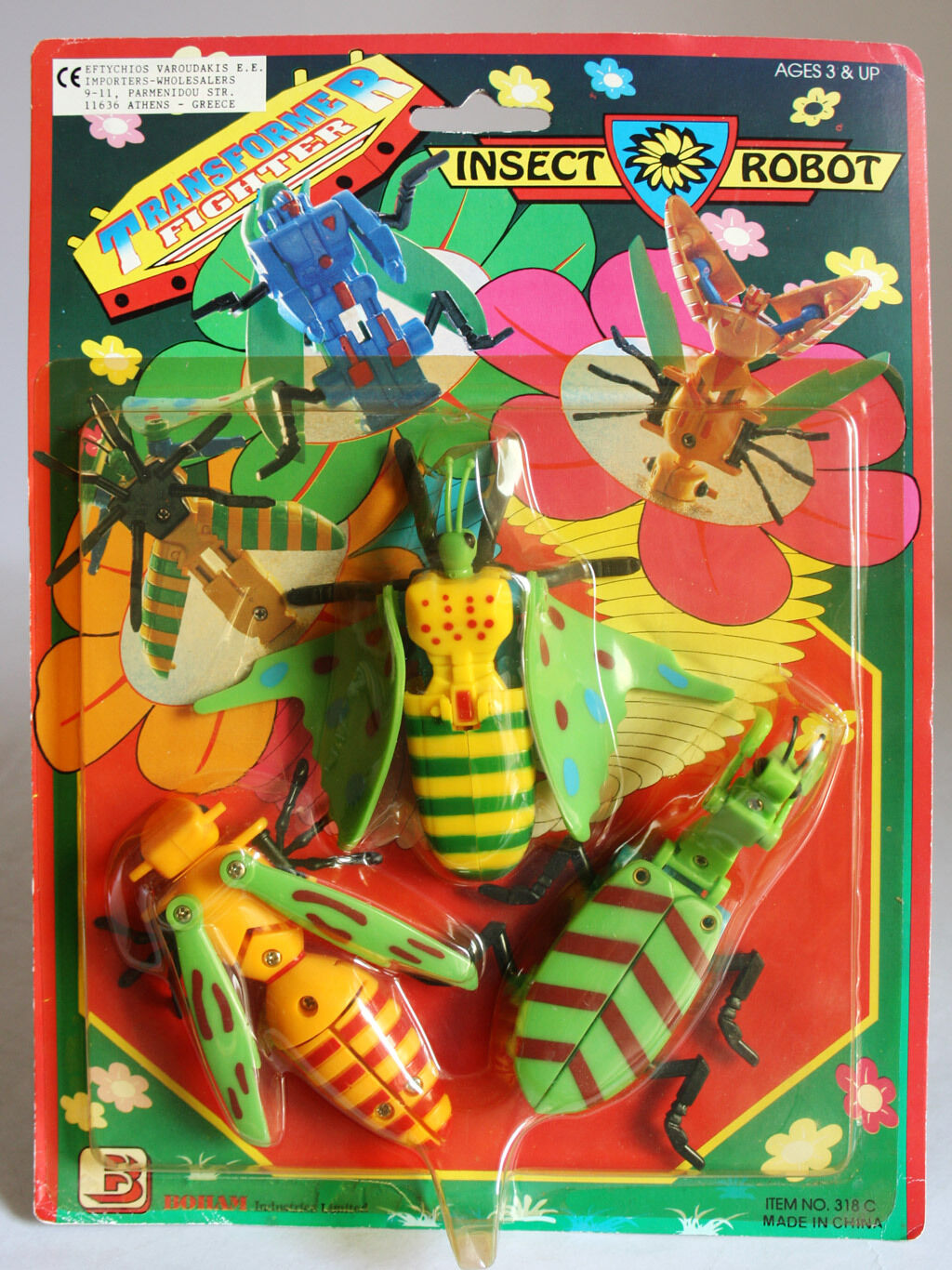 VERY RARE VINTAGE 80'S TRANSFORMABLE INSECT ROBOT BOHAM NEW SEALED MOSC