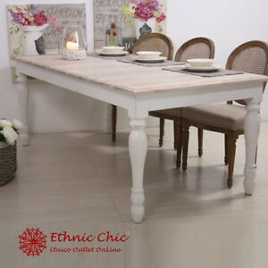 Tavolo legno bianco shabby chic tavoli provenzali shabby for Tavolo cucina shabby chic