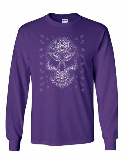 Bandana Skull Face Long Sleeve T-Shirt Gangsta Badass Swag Urban Skeleton Tee