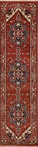 Geometric-Heriz-Serapi-Oriental-Runner-Rug-Traditional-Handmade-Wool-Carpet-3x10