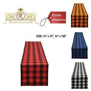 Plaid-Checkered-Table-Runners-Linens-Dresser-Scarf-Decor-Buffalo-Cotton-Dining