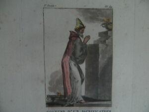 Incisione Colori Costume di Un Sacerdote Persiani Janinet XVIII 1788