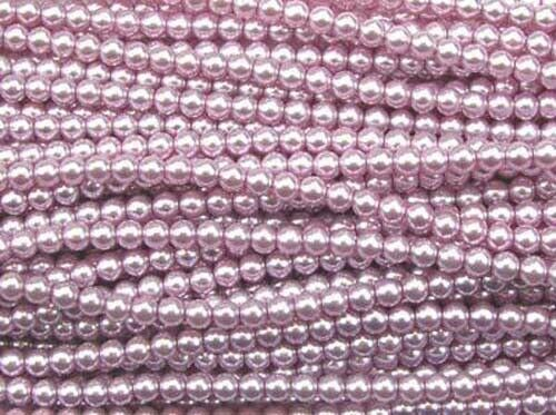 LIGHT PINK Czech glass round pearl beads 4mm string of 110 beads