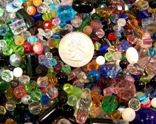 HOT 1//2 Half lb Mixed Glass Beads Colors Shapes /& Size Wholesale Bulk Lot