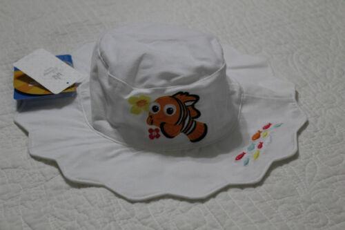 VARIOUS SIZES NEW DISNEY STORE BABY GIRL NEMO WHITE SUN HAT UPF 50