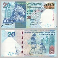 Hongkong / Hong Kong 20 Dollars 2010 p212a unc.