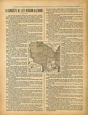 ARTICLE Map Carte Conquête Ouest Afrique  Allemagne West Africa Germany 1917 WWI