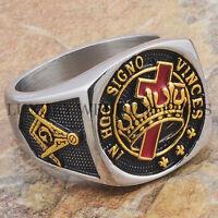 Knights Templar Masonic Ring York Rite Master Freemason 24k Gold Tone Size 9-15