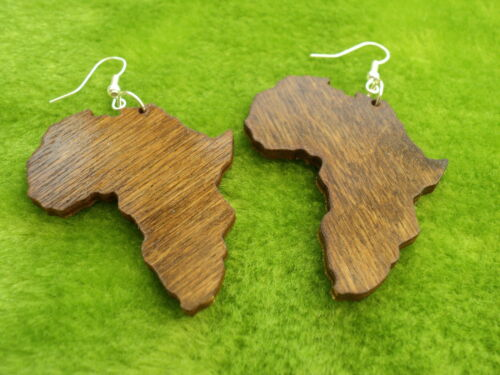 black large or small wooden acrylic gold mirror Africa map earrings