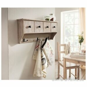holz garderobe wandregal h ngeregal regal k che landhaus shabby schublade flur ebay. Black Bedroom Furniture Sets. Home Design Ideas