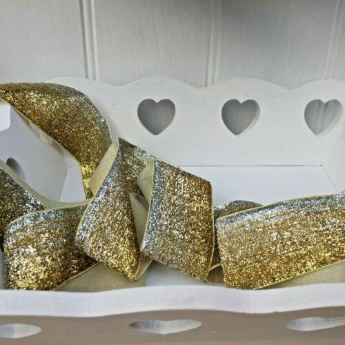 Christmas Wreaths 1Mtr Bows Sparkly Gold /& Silver Neat Edge Velvet Ribbon